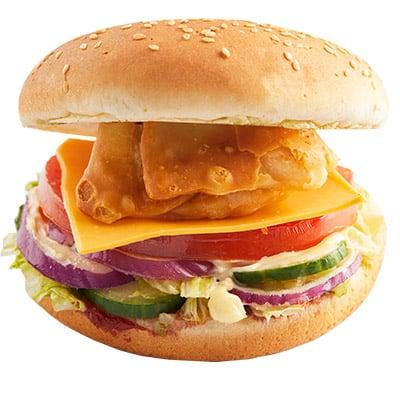 Samosa Burger + Onion Rings